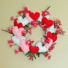 Cherry Blossoms and little heart pillows make the perfect Valentines Wreath. Thanks so xox Valentine Day Wreaths, Valentines Day Decorations, Valentine Day Crafts, Happy Valentines Day, Holiday Crafts, Wreath Crafts, Diy Wreath, Fabric Hearts, Heart Crafts