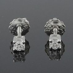 Round Solitaire Stud Earrings 1/5ct VVS Diamond Platinum Plated Screw Back 074R by JewelryHub on Opensky
