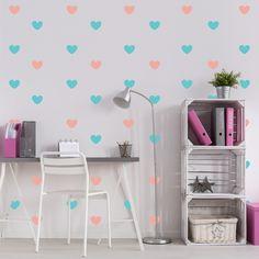 bbb156fc93 Adesivo de Parede Infantil Quartinhos Coração Rosa e Azul