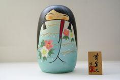 Creative Kokeshi Doll MEBAE (SPROUT), BLUE by Kaoru Nozawa