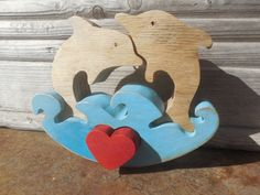 Free standing Wooden Dolphins in LOVE puzzle,with red heart,4 parts by DesertHeartsCo on Etsy
