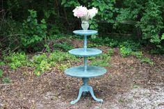 Vintage 3 Tier Pie Crust Table Hand Painted Annie Sloan Provence French Blue Dark Wax SHabby Chic