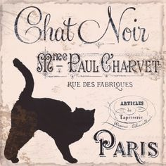 Chat Noir, Vintage Black Cat Paris Poster