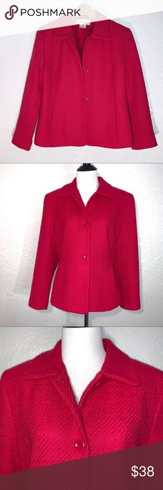 1e4050af65ec Jones New York Hot Pink Tweed Jacket Sz 10 Jones New York Hot Pink Tweed  Jacket