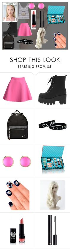 """ever been in before"" by evacristelo ❤ liked on Polyvore featuring Versace, MSGM, Pusheen, NIKE, Alexis Bittar, Elegant Touch and H&M"