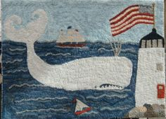 whale & light house with flag...nice seaside & patriotic combination!