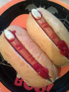 """Vickys Halloween Savoury Severed Fingers. """"A bit gruesome but easy to turn back into a hotdog!!"""""""