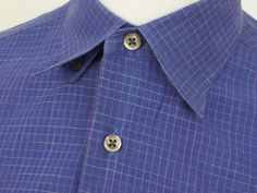 Lavoro Mens Long Sleeved Dress Shirt sz Large Blue/Pink Checkers Made In Italy #Lavoro