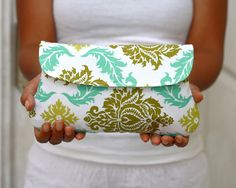 Wedding Clutch Damask White, aqua and olive #bestofEtsy #Christmasgift