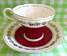 Ravishing Red Aynsley Teacup & Saucer by RoyalRummage on Etsy, $10.00 Tea Cozy, Chocolate Cups, Tea Cup Saucer, Teacups, Chutney, Corset, Homemade, Tableware, Beautiful