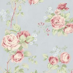 Vintage flowers on vines elegantly flow in this design. Daisies add a sweet expression to this skillfully painted piece of art. The linen emboss in the background completes this design. Pink And Grey Wallpaper, Cream Wallpaper, Shabby Chic Wallpaper, Apple Wallpaper, Rose Wallpaper, Blue Wallpapers, Vintage Flowers, Pattern Wallpaper, Pink Roses