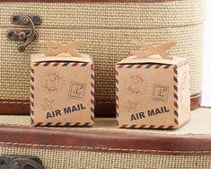 Let the Adventure Begin Airplane Kraft Favor Box (Set of 24) (Kate Aspen 28269NA) | Buy at Wedding Favors Unlimited (https://www.weddingfavorsunlimited.com/let_the_adventure_begin_airplane_kraft_favor_box_set_of_24.html).