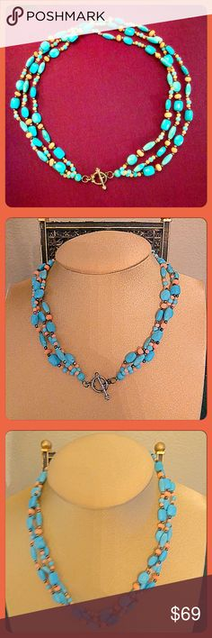 "✨VTG 3-Strand Turquoise, Coral & 925 SS Necklace✨ Beautiful vintage 3 stranded blue turquoise, peach coral, 925 sterling silver beaded necklace with a toggle clasp closure. Turq. beads come in various cool shapes. Perfect for Spring & Summer months. Looks great with many outfits. 18""L. Easy to put on, wear it showing the toggle in the front or back. Total wt=approx. 50gms. Marked 925 LUG. In excellent vintage condition from the late 1980's. Vintage Jewelry Necklaces"