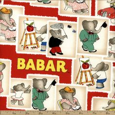 Babar Stamps Cotton Fabric - Red by Beverlys.com