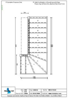 Winder Stair Drawings | ... made to measure Staircase Drawing of a 4 Tread Winder staircase