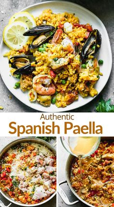 Fish Dishes, Seafood Dishes, Seafood Recipes, Cooking Recipes, Healthy Recipes, Seafood Paella Recipe, Tapas Recipes, Delicious Recipes, Spanish Dinner