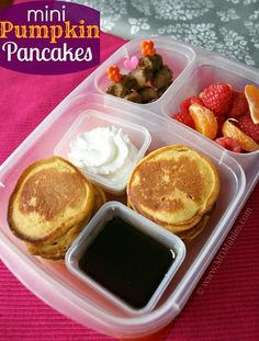 Breakfast for Lunch ~ mini pancakes, syrup, whipped cream, sausage, strawberries, mandarin oranges