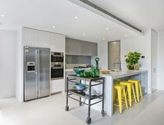 The glossy grey cabinetry, the acid yellow Tolix stools...