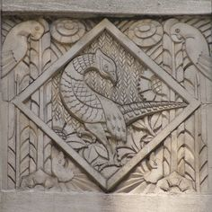 Art deco relief panels on the Wacker Tower building on East Wacker Place in the downtown area of Chicago, Illinois.