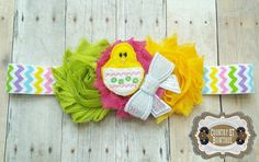 Spring Peep Pink Green and Yellow Shabby by CountryQTBowtique