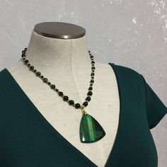 Genuine Green Tiger's Eye and Green by VelvetCurtainDesigns