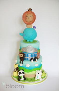 Adorable Zoo Animal Cake