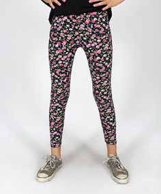Black & Pink Floral Leggings by Rated G #zulily #zulilyfinds