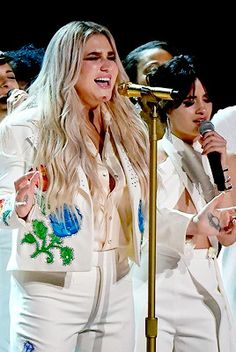 "Camila Cabello and Kesha performing ""Praying"" at the 60th Annual GRAMMY Awards."