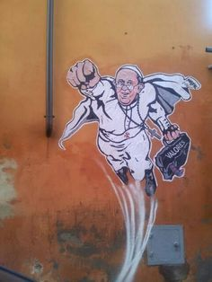 This Graffiti Painting of the Pope Depicts Him as a Superhero #streetart #graffiti trendhunter.com