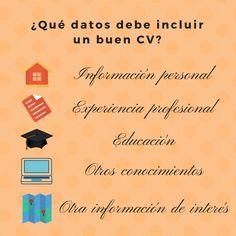 ¿Sabes qué debe incluir un buen CV? 1. Información personal 2. Experiencia profesional 3. Estudios 4. Otros conocimientos  5.Otra información de interés #CV #Empleo #Trabajo #Entrevistas #RecursosHumanos