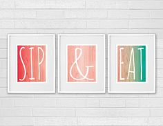 Superior Dining Room Art   Kitchen Prints Wall Art   Modern Set Of 3 Sip Wine And  Eat Food   Ombre Kitchen Signs Decor Red, Coral, Turquoise / Aqua