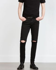 Image 2 of TROUSERS WITH KNEE RIPS from Zara