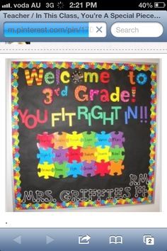 Creative way to keep class attendance, students take their puzzle name from a bucket and place it on the wall to show they are at school. Students can decorate their own jigsaw pieces at the beginning of the school year, or as they enter the class (new students)