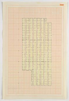 Rachel Whiteread Study for 'Floor', 1992 Ink and correction fluid on graph paper