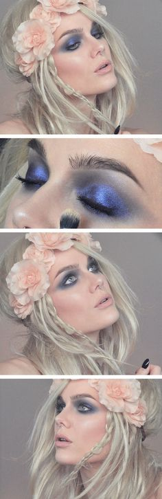 Fairytale Makeup #blueshadow #hairflowers #beauty #lindahallberg