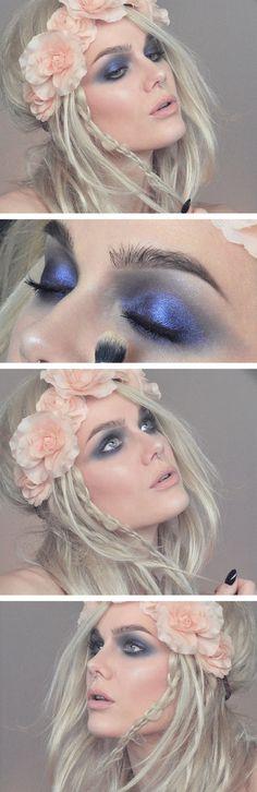 Fairytale Makeup #blueshadow #hairflowers #beauty #lindahallberg