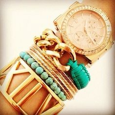 Turquoise + gold stacks.