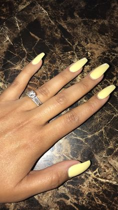 Yellow nails Pastel nails Spring nails Gel nails Acrylic coffin nails Long nails