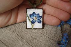 Cross stitch pendant Crocus Hand embroidered by IrinaJourba