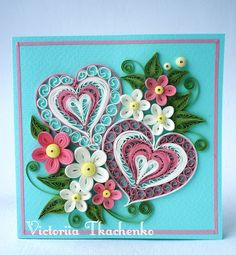 Valentine Quilling Card - Valentine's Day quilling Card - Anniversary quilling Card - Love quilling card - 2 of Hearts
