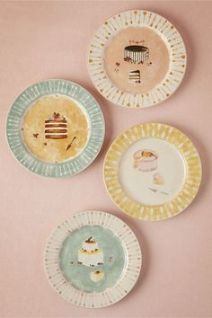 Painted Cake Plates (4) in Décor View All Décor at BHLDN
