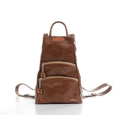 Brown Leather Backpack Women, Leather City Rucksack, Small Genuine Leather Purse Leather Backpack Purse, Leather Purses, Mini Backpack, Leather Bags, Brown Backpacks, At Least, Leather Fashion, Fashion Handbags, Stylish