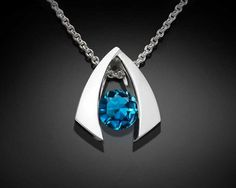 London blue topaz necklace, December birthstone, silver necklace, wedding…