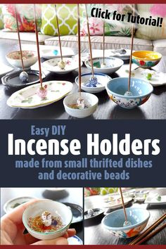 DIY Incense Holders Using Cute Little Dishes and Big, Beautiful Beads Diy And Crafts Sewing, Crafts To Make And Sell, Sell Diy, Easy Diy Crafts, Fun Crafts, Sewing Diy, Upcycled Crafts, Fabric Crafts, Homemade Incense