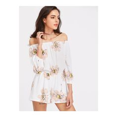 SheIn(sheinside) Floral Print Bardot Romper ($15) ❤ liked on Polyvore featuring jumpsuits, rompers, beige, 3/4 sleeve romper, jump suit, long-sleeve romper, beige jumpsuit and floral rompers