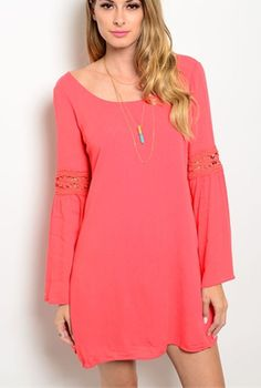 COWGIRL gYPSY Dress Tunic Bell BOHO Sleeve Crocheted detail CORAL SMALL #shopthetrends #shift
