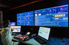 Peleton's Control Room sports a Newtek Tricaster production switcher and a Telemetrics robotic camera controller connected to 3 Sony PTZ cameras. - See more at: http://sportsvideo.org/main/blog/2014/05/walters-storyk-puts-pedal-to-medal-for-peloton-broadcast-studio/