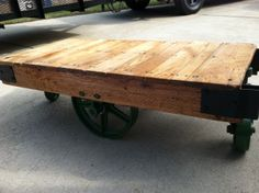 Myers Industrial Factory Railroad Cart Coffee Table by DirtySoles, $595.00