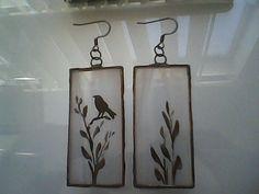 Bird Design, Stained Glass Earrings, Glass Painting, Bird Jewelry, Bird Earrings, Tiffany Style by GabrielStudiosArt on Etsy
