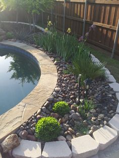 Rock Garden/Flower Bed Behind Pool